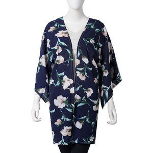 Navy with Green Leaf Flower Pattern 100% Polyester Japan Style Sleeve Summer Kimono (23.63x34.65 in)