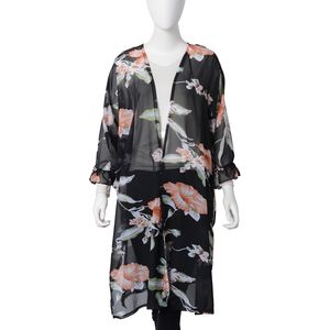 Black 100% Polyester Leaf and Flower Pattern Ruffle Mid-Sleeve Long Length Summer Kimono (One Size)