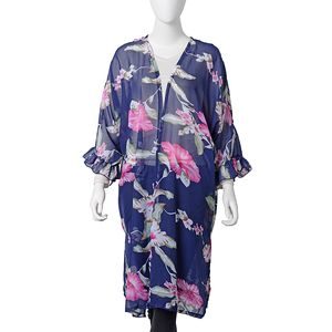 Navy with Green Leaf Flower Pattern 100% Polyester Chiffon Summer Kimono (33.47x39.37 in)