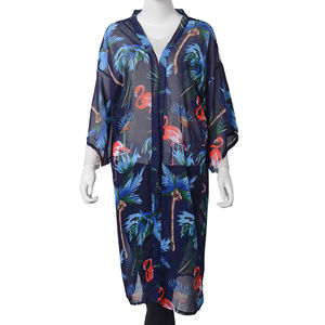 Navy 100% Polyester Multi Color Flower & Crane Pattern Kimono (One Size)