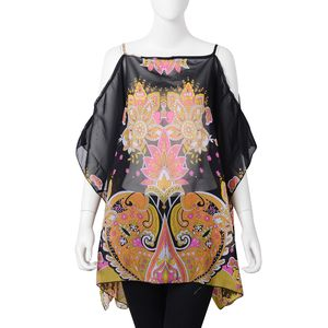 Black 100% Polyester Flower Pattern Drape Shoulder Summer Poncho (One Size)