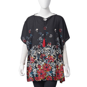 Black with Multi Color Flower Pattern 100% Polyester Poncho with 2 Tassels in Collar (27.56x35.44 in)