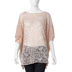 Ice Coffee and White 100% Polyester Floral Lace Pattern Summer Poncho (One Size)