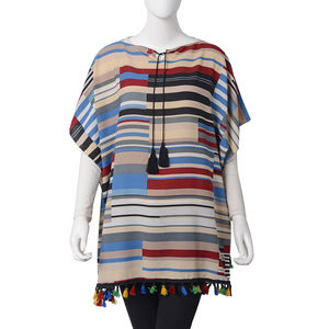 Multi Color Strip Pattern 100% Polyester Poncho with Bottom Pom Pom & 2 Tassels in the Collar (30.71x35.44 in)