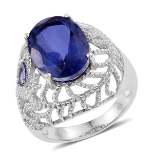 Playa Quartz, Tanzanite Platinum Over Sterling Silver Openwork Dome Ring (Size 7.0) TGW 10.35 cts.