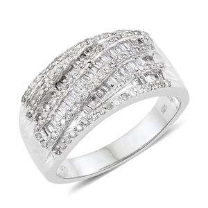 Diamond Sterling Silver Ring (Size 8.0) TDiaWt 1.00 cts, TGW 1.00 cts.
