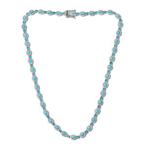 Arizona Sleeping Beauty Turquoise, Multi Gemstone Platinum Over Sterling Silver Necklace (18 in) Total Gem Stone Weight 19.75 Carat