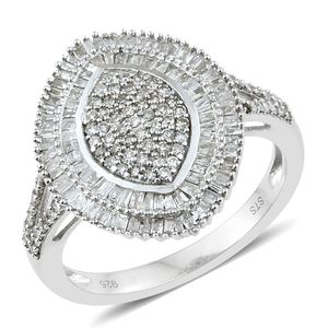 Diamond Platinum Over Sterling Silver Cluster Ring (Size 5.0) TDiaWt 1.00 cts, TGW 1.00 cts.