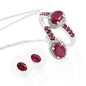 Niassa Ruby, Cambodian Zircon Platinum Over Sterling Silver Earrings, Ring (Size 8) and Pendant With Chain (20 in) TGW 5.81 cts.