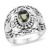 Bohemian Moldavite Sterling Silver Ring (Size 8.0) TGW 0.98 cts.