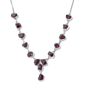 One Time Only Artisan Crafted Rough Cut Mozambique Garnet Sterling Silver Magic Ball Drop Necklace (20 in) TGW 77.04 cts.