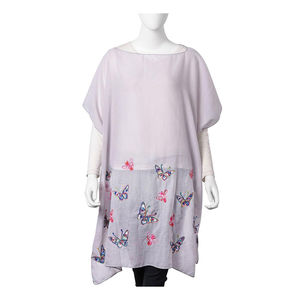 Gray 100% Polyester Butterfly Embroidered Scoop Neck Poncho (One Size)