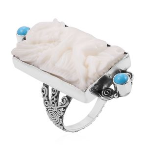 Bali Goddess Collection Carved Bone, Arizona Sleeping Beauty Turquoise Sterling Silver Ring (Size 8.0) TGW 0.59 cts.