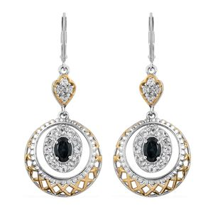 Monte Belo Indicolite, White Topaz 14K YG and Platinum Over Sterling Silver Lever Back Earrings TGW 2.00 cts.