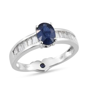 GP Masoala Sapphire, Multi Gemstone Platinum Over Sterling Silver Ring (Size 7.0) TGW 2.80 cts.