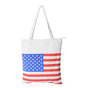 USA Flag White Canvas Tote Bag (13x15.5 in)