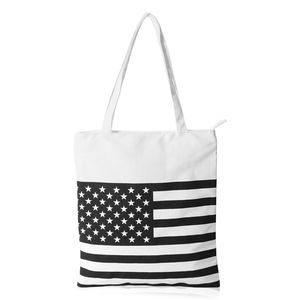 Black USA Flag White Canvas Tote Bag (13x15.5 in)