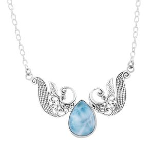 Bali Legacy Collection Larimar Sterling Silver Leaf Necklace (18 in) TGW 18.75 cts.