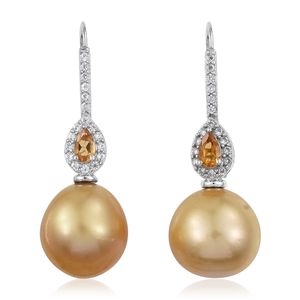 South Sea Pearl (12-12.5 mm), Multi Gemstone Platinum Over Sterling Silver Lever Back Drop Earrings TGW 0.80 cts.