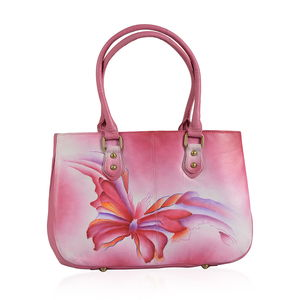 SUKRITI - Fuchsia Butterfly Hand Painted Leather Satchel Bag (13.5x4x9 in)