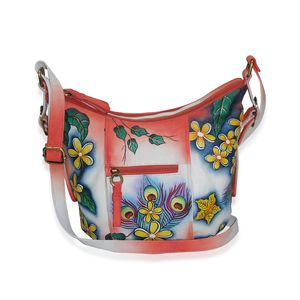 SUKRITI - Coral Peacock Feather Hand Painted Genuine Leather Bucket Bag with Standing Studs (13x4.5x10 in)