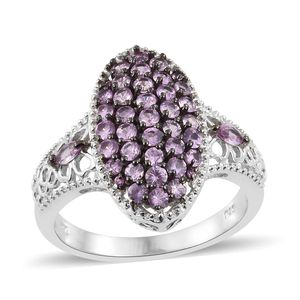 Madagascar Pink Sapphire Platinum Over Sterling Silver Cluster Ring (Size 7.0) TGW 1.54 cts.
