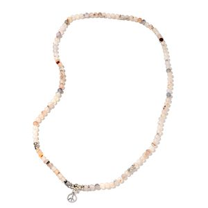 Multi Color Agate Enhanced, Chroma Silvertone Peace Stretchable Necklace (36 in) TGW 380.00 cts.