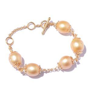 South Sea Pearl (10-10.5 mm) Vermeil YG Over Sterling Silver Bracelet (7.50 In) 0