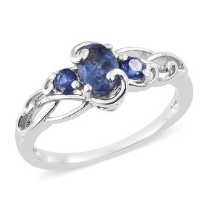 Masoala Sapphire Platinum Over Sterling Silver Ring (Size 7.0) TGW 1.35 cts.