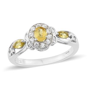 Yellow Sapphire, Cambodian Zircon Platinum Over Sterling Silver Ring (Size 5.0) TGW 1.05 cts.