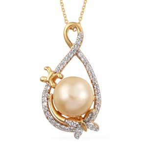 South Sea Golden Pearl (10-10.5 mm), Cambodian Zircon Platinum & 14K YG Over Sterling Silver Pendant With Chain (20 in) TGW 0.66 cts.