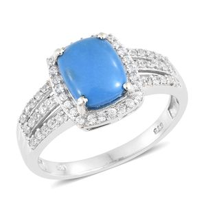 Ceruleite, Cambodian Zircon Platinum Over Sterling Silver Ring (Size 8.0) TGW 2.47 cts.