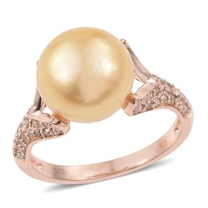 South Sea Pearl (10-10.5 mm), Diamond Vermeil RG Over Sterling Silver Ring (Size 6.0) TDiaWt 0.50 cts, TGW 0.50 cts.