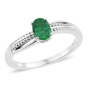 Brazilian Emerald Platinum Over Sterling Silver Ring (Size 5.0) TGW 0.75 cts.