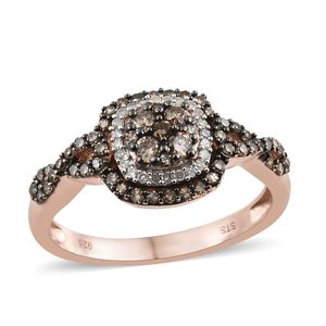 Natural Champagne Diamond, Diamond Black Rhodium & Vermeil RG Over Sterling Silver Ring (Size 10.0) TDiaWt 0.75 cts, TGW 0.75 cts.