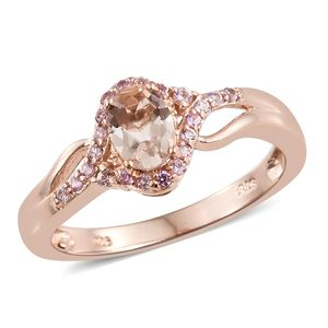 Marropino Morganite, Madagascar Pink Sapphire Vermeil RG Over Sterling Silver Ring (Size 5.0) TGW 0.97 cts.