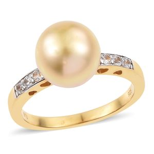 South Sea Pearl (10-10.5 mm), Cambodian Zircon Vermeil YG Over Sterling Silver Ring (Size 9.0) TGW 0.12 cts.