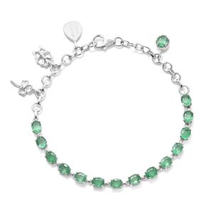 Brazilian Emerald, Cambodian Zircon Platinum Over Sterling Silver Charm Bracelet (7.50 In) TGW 4.67 cts.