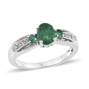 Brazilian Emerald, Cambodian Zircon Platinum Over Sterling Silver Ring (Size 8.0) TGW 1.58 cts.
