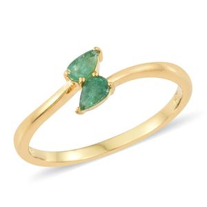 Brazilian Emerald Vermeil YG Over Sterling Silver Bypass Ring (Size 7.0) TGW 0.40 cts.