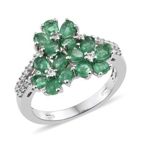 Brazilian Emerald, Cambodian Zircon Platinum Over Sterling Silver Ring (Size 7.0) TGW 2.47 cts.