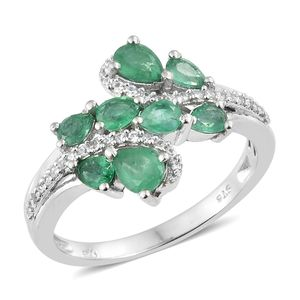 Brazilian Emerald, Cambodian Zircon Platinum Over Sterling Silver Bypass Ring (Size 6.0) TGW 1.63 cts.