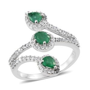 Brazilian Emerald, Cambodian Zircon Platinum Over Sterling Silver Bypass Ring (Size 7.0) TGW 1.75 cts.
