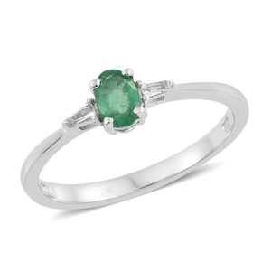 Brazilian Emerald, White Topaz Platinum Over Sterling Silver Ring (Size 8.0) TGW 0.57 cts.