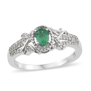 Brazilian Emerald, Cambodian Zircon Platinum Over Sterling Silver Ring (Size 8.0) TGW 0.65 cts.