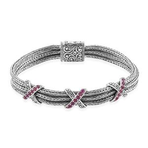 Bali Legacy Collection Ruby Sterling Silver Triple Row Criss Cross Station Bracelet (7.50 In) TGW 1.10 cts.