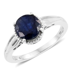 Masoala Sapphire Platinum Over Sterling Silver Ring (Size 7.0) TGW 4.20 cts.