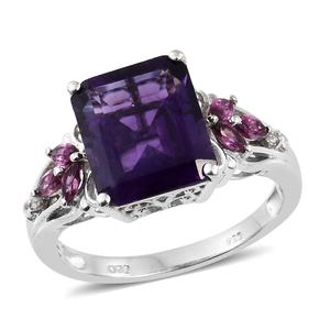 Lusaka Amethyst, Multi Gemstone Platinum Over Sterling Silver Ring (Size 7.0) TGW 6.55 cts.