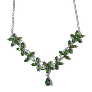 Russian Diopside Platinum Over Sterling Silver V-Shape Princess Necklace (18 in) TGW 10.35 cts.