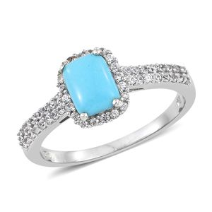 Arizona Sleeping Beauty Turquoise, Cambodian Zircon Platinum Over Sterling Silver Ring (Size 10.0) TGW 1.61 cts.